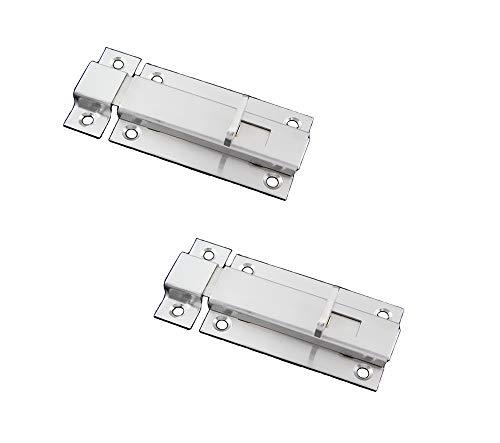 Stainless Latches Door Steel (NELXULAS Stainless Steel Thicken Door Latch Sliding Lock Barrel Bolt, Quick Screw Mount Installation (3-3/5