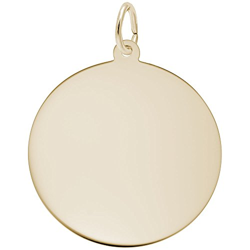 Rembrandt Charms, 1in Disc.5mm Thick, 22k Yellow Gold Plated Silver, Engravable