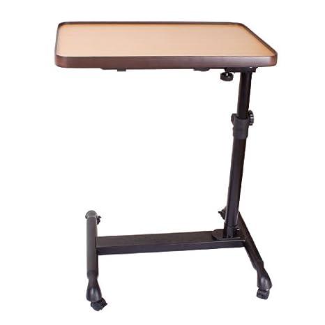 SoBuy® Mesa Auxiliar con Ruedas, mesas de Centro, mesas para portatiles, mesitas de Noche, FBT07N3-N(Marrón/L52*P34*A55-90cm),ES