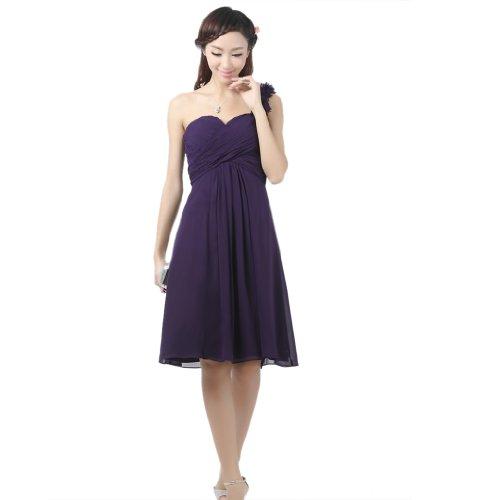 1 Schulter Purpurn Abendkleider Chiffon Kurz Reissverschluss Damen Kleidungen Dearta Aermellos Empire Mini RIBAOtRwqF