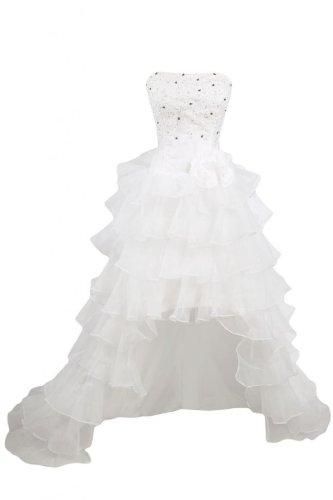 Organza abito spalline Lo colore senza Fashion Hi bianco Sunvary da sera da White sposa abito wIHvP4