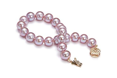 Lavande 8.5-9.5mm AAA-qualité perles d'eau douce 585/1000 Or Jaune-Bracelet de perles