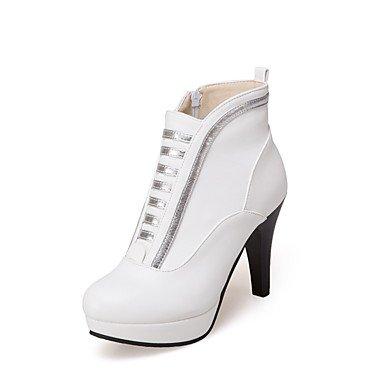 RTRY Zapatos De Mujer Moda Otoño Invierno Pu Botas Botas Chunky Talón Botines/Botines De Casual Negro Blanco Amarillo US5 / EU35 / UK3 / CN34