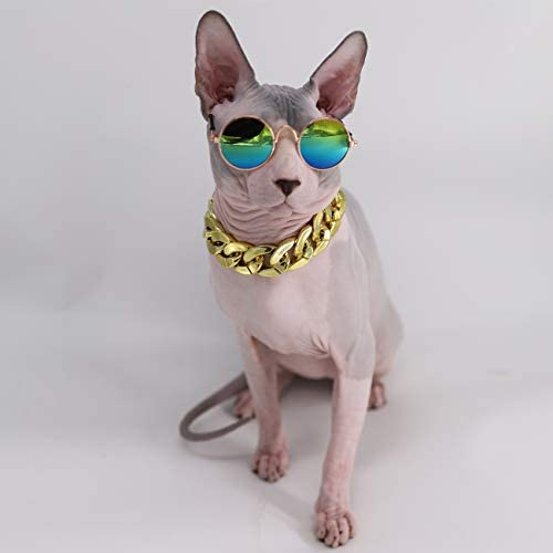 Kitipcoo Cool Stylish and Funny Pet Sunglasses Classic Retro Circular Metal Prince Sunglasses Necklace Set for Sphynx Cats Chihuahua or Small Dogs Fashion Costume (Sunglasses+Necklace) 21