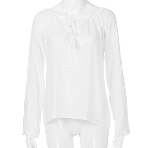 DEELIN Longues Manches T d'paule en Blanc Manches Shirt Dentelle Longues HTqHSrgw