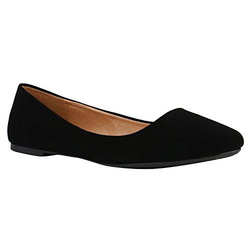 Stiefelparadies Klassische Damen Ballerinas Strass Leder-Optik Schuhe Elegante Slipper Slip On Flats Glitzer Übergrößen Abiball Flandell Schwarz Total