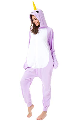 Foresightrade Adults Children Animal Narwhal Unicorn Cosplay Costume Pajamas Onesies Sleepwear (80# fits for Child Height 88-108cm, Narwhal Purple Eyelash) -