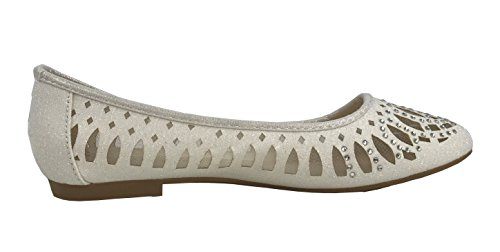Forever Collection Mujeres Crystal Rhinestone Coveredred Ballet Flats Slip On Glitter Zapatos White Crystal