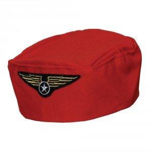 Flight Attendant Costume Uk (Red Flight Attendant Hat Adult Women Fancy Dress Accessory Hat)