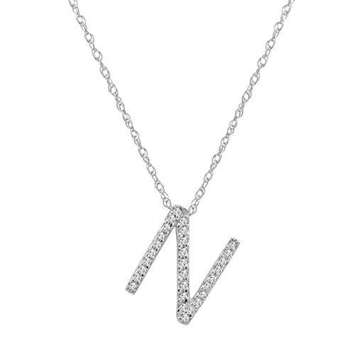 "14K White Gold Diamond""N"" Initial Pendant, 16"" Necklace"