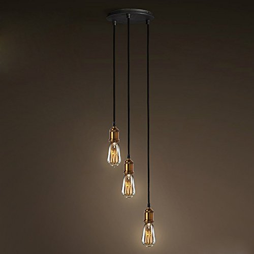 Industrial Adjustable 3 Lights Edison Bulb Pendant Light - LITFAD 12