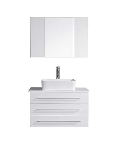 Virtu USA Ivy 32 inch Single Sink Bathroom Vanity Set in White -