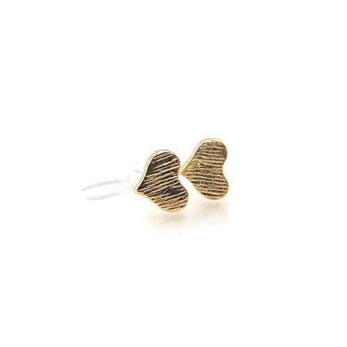 Brushed Heart Ring (Tiny Heart Invisible Clip On Stud Earrings, 6mm Brushed Gold-Tone)