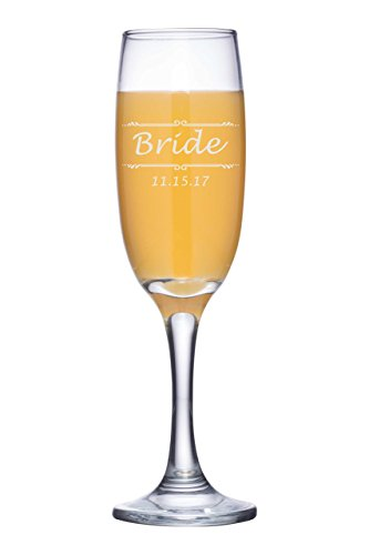 Personalized Champagne Flute, Any Text Custom Engraved Toasting Glass for Wedding Toast, Anniversary, Mothers Day - CG02