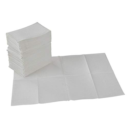 "ECR4Kids 2-Ply Tissue and Poly Disposable Sanitary Liner for Baby Changing Stations, Dental Bibs, Tattoo Shops, and Senior Care, 18"" x 13"", 500-Pack - White"