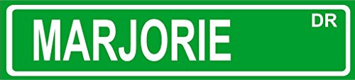 MARJORIE Green Aluminum Street sign 4''x18'' great Décor for any room girls name by Any and All Graphics
