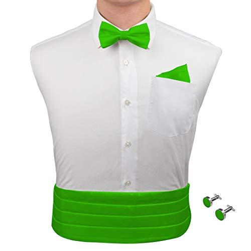 Green party cummerbund marriage lime green soild Pre-tied Bow Tie Cufflinks Hanky and Cummerbund Set with Free Box By Epoint CM1030  lime green