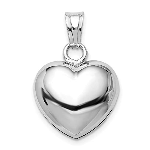 (925 Sterling Silver Rhodium-plated Polished Bell inside Puffed Heart Charm Pendant)