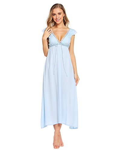 Ekouaer Womens Vintage Deep V Sleeveless Night Dress,Light Blue,Small
