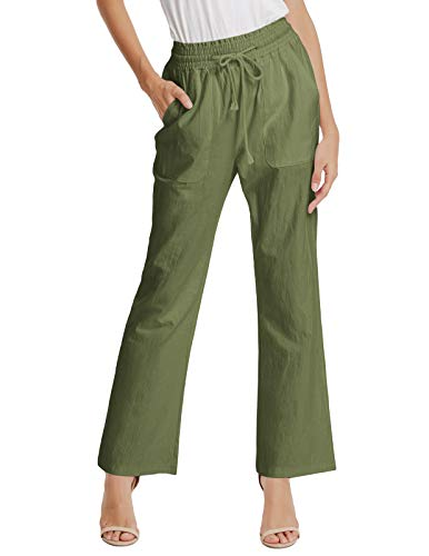 (GRACE KARIN Women Comfy Wear to Work Cotton Long Drawstring Pants Band Waist Green M)