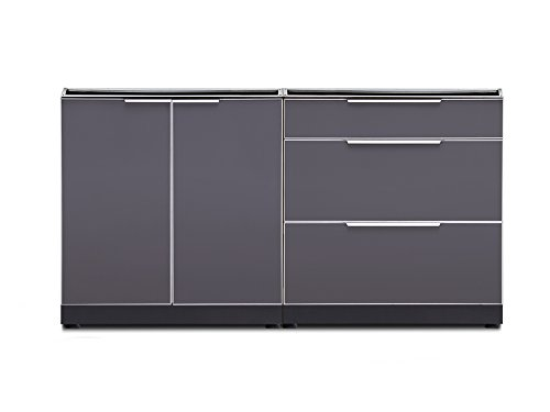 NewAge Products 65311  Outdoor Kitchen Cabinet Set In Aluminum, (2 Piece) (W/O Tops) Outdoor Kitchen Set, Slate -