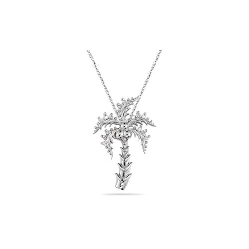 I1 clarity and I-J color Diamond Palm-Tree Pendant in 14KWhite Gold ()