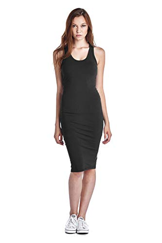 LaClef Women's Sleeveless Basic Racer Back Tank Midi Cotton Casual Dress (Small, Black)