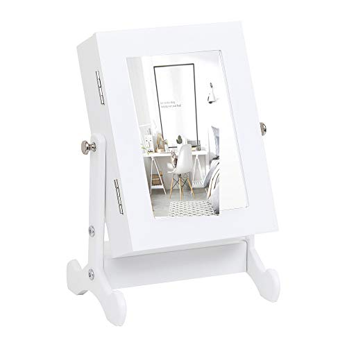 Lykos Small Mirror Jewelry Cabinet Organizer Armoire Storage Box Countertop with Stand (White) (Table Jewelry Armoire Top)