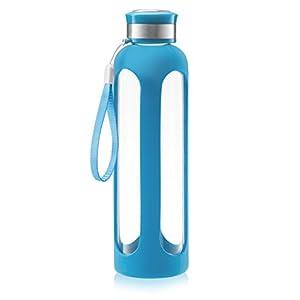 SWIG SAVVY Glass Water Bottle – 20oz/32oz Break-resistant Borosilicate Glass + Silicone Protective Sleeve. BPA-Free Durable & Stylish (Blue, 20oz)