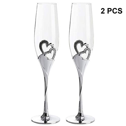 Wedding Toasting Flutes Champagne Glasses Love Heart-shaped Colored Silver Enamel Crystal Inlaid with Diamonds Wedding Goblet Cocktail Wine Glass Gift, Set of 2