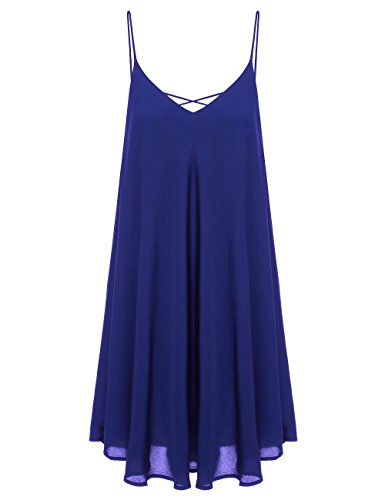 Romwe Women's Summer Spaghetti Strap Sundress Sleeveless Beach Slip Dress Blue S (Dress Blue Summer)
