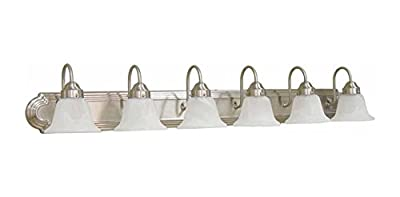 AF Lighting 617587 48-Inch W by 8-Inch H by 9-Inch E Lunar Bay Lighting Collection Six Light Vanity Fixture, Brushed Nickel