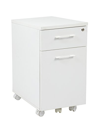 Pro-Line II / OSP Designs Prado Mobile File in White with Hidden Drawer and Castors by Pro-Line II / OSP Designs