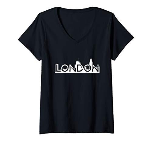 Womens Awesome London Skyline Holiday V-Neck T-Shirt
