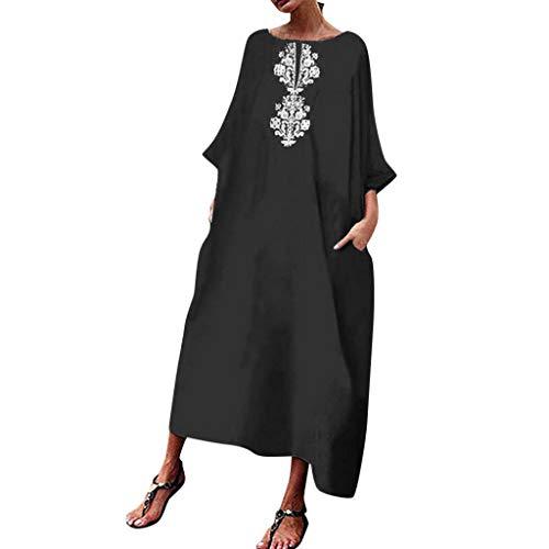 Tantisy ♣↭♣ Women's Plus Size Cotton and Linen Casual Dress Vintage Kaftan Print Dress Summer Ladies A-line Long Dress Black