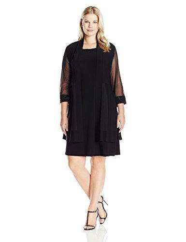 R&M Richards Women's Plus Size 2 Piece Mesh Panel Bead Neck Jack Et Dress, Black, 2X