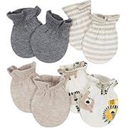 Organic Cotton Rib No Scratch Mittens, 4pk (Baby Boy)