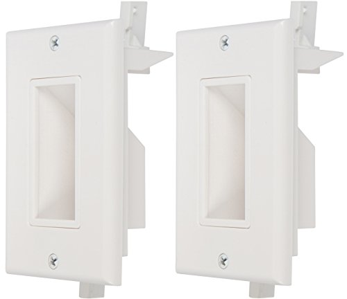 - Buyer's Point Recessed Low Voltage Cable Wall Plate, Easy to Mount Outlet to Hide & Pass Tech Wires Through for HDMI, TV, Video, Audio, Network, Speaker Wires, Cord Concealer Cover Hider (2 Pack)