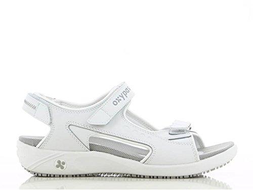 Sandale en Blanc Oxypas Olga Cuir infirmière Blanc 4dgwzqZ