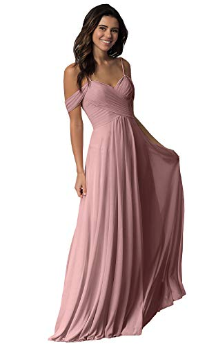 Women's Sweetheart Long Bridesmaid Dress Off The Shoulder A Line Pleated Formal Evening Party Dress Dusty Rose Size 16