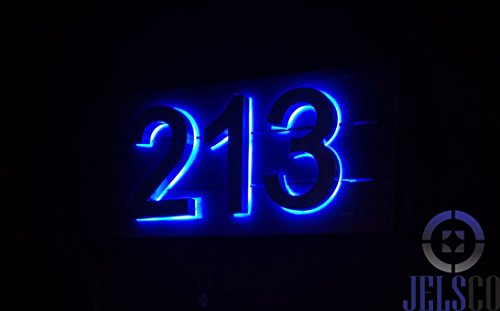 Backlit LED House Numbers (8 Inch Blue) Big, Modern Address Signs for Homes | Soft, Exterior Glow | Brushed Stainless-Steel Finish | Weather Resistant, Durable, Wired | by JELSCO (4) by JELSCO (Image #3)