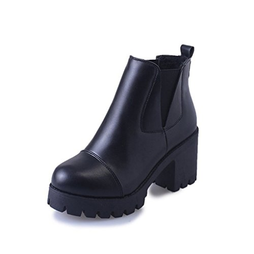 Fashion Short Boots Female Autumn and Winter Rough High Round Head Martin Boots Black jmAg3y
