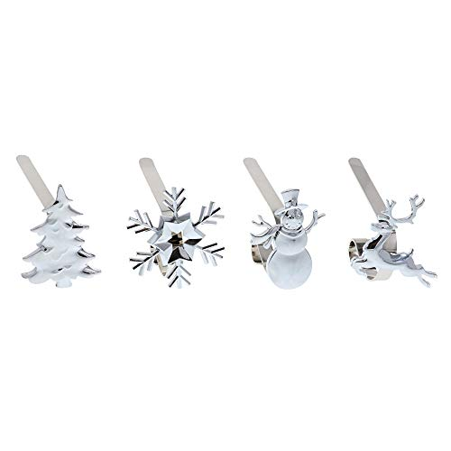 Haute Decor The Original MantleClip Stocking Holder with Removable Holiday Icons, Silver 4-Pack (Assorted Icons) (Flat For Stocking Mantle Holders)