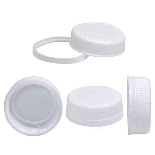Pack of 25 Caps for Empty Juice Bottles - White Tamper Seal Lids for 4, 8,12, 16, and 32 oz Empty Plastic Milk containers (Plastic Water Bottle Caps)
