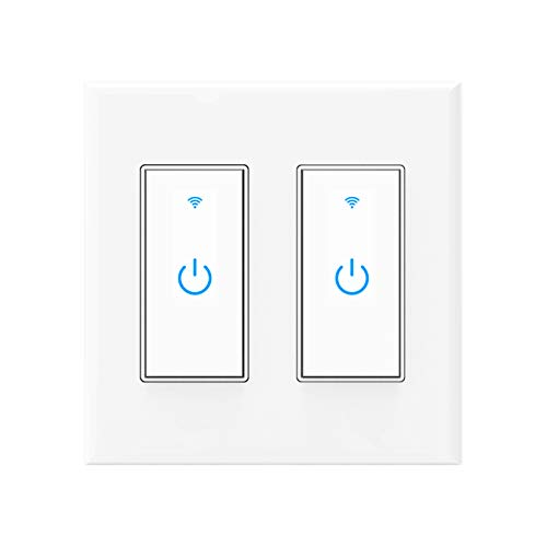 Smart Switch WiFi Wall Light Switch Compatible with Alexa, Google Assistant and IFTTT, Neutral Wire Required, Single Pole, No Hub Required, 2 Gang