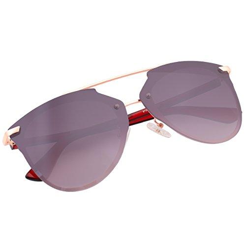 Mirrored Rimless Sunglasses Double Bridge Pantos Shape Aviator Shades 87049C Rose - Gold Mirrored Amazon Rose Sunglasses