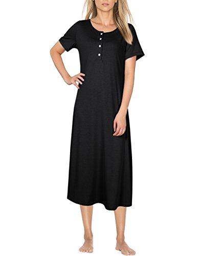 Coolmee Women's Knit Cotton Long Sleeve Nightgown For Women Long Henley Sleep Dress (M, Short Sleeve-Black) (Shop Nightgowns Sleeve Long)