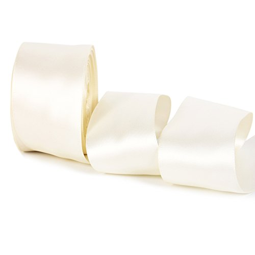 Ivory Wired Satin Ribbon - Double Face Satin Ribbon 20 Yards For Party Wedding Home Decoration Handmade Craft (2