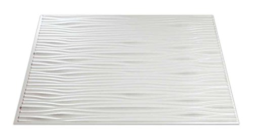 Fasade Easy Installation Waves Gloss White Backsplash Panel for Kitchen and Bathrooms (18