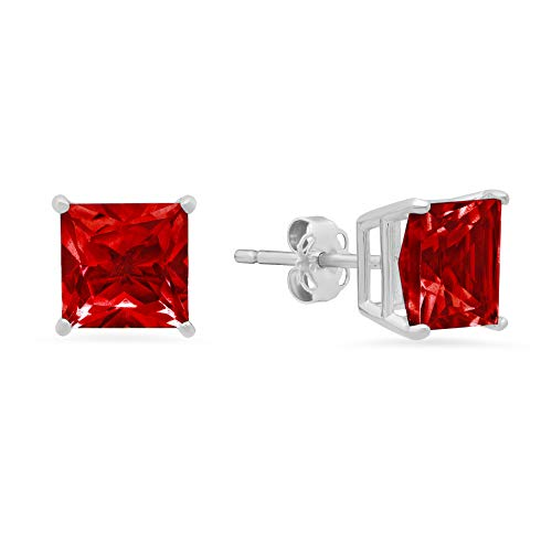 14k White Gold Solitaire Princess-Cut Created Ruby Stud Earrings (7mm) ()